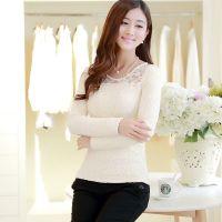 2014秋冬新款韩版修身长袖T恤 时尚蕾丝加绒打底衫 女 厂家直销