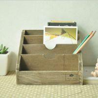 创意zakka杂货 复古做旧木质盒家居日用饰品异形CD收纳盒批发
