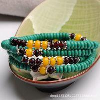 【五月新款】藏风+纯天然6mm绿松石4圈盘珠手链 天然水晶饰品