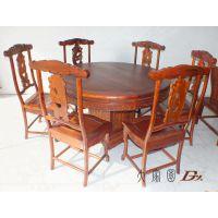 缅甸花梨家具 缅甸花梨餐桌七件套 花梨木实木家具 红木家具