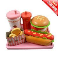 Mother Garden木制仿真厨房过家家儿童玩具 汉堡组之汉堡热狗