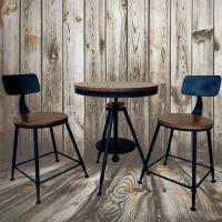 实木桌椅组合三件套铁艺户外休闲美式阳台客厅咖啡酒吧餐椅子茶几
