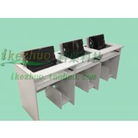 科桌三人电脑翻转桌办公桌 翻转器电脑桌 学校电教室多媒体会议桌