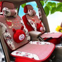 蕾丝花布小熊卡通可爱四季通用车垫夏季坐垫