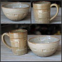 厂家直销 厨房餐厅酒店办公陶瓷用品 手工瓷编碗水杯二件套
