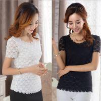 夏季新款韩版 修身显瘦短袖T恤女 蕾丝波浪边女装打底衫