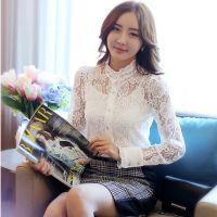 2014秋装新款打底衫 韩版修身显瘦荷叶边钉珠蕾丝衫 送吊带