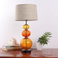 现代简约玻璃台灯书桌灯卧室客厅会所床头灯创意时尚布艺温馨灯具