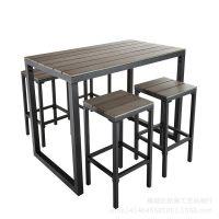 工艺品 美式 复古 实木铁艺餐桌椅组合咖啡厅桌椅防锈做旧酒吧桌