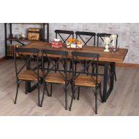 美式乡村复古实木家具铁艺餐桌特价餐厅餐桌椅组合