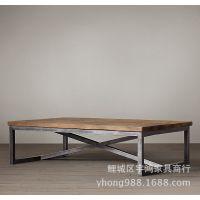 loft美式乡村复古时尚实木家具 铁艺休闲简约咖啡桌木茶几 特价