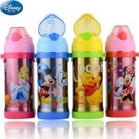 正品迪士尼儿童水杯真空不锈钢保温杯防漏吸管学饮杯喝水杯5734