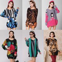 韩版秋冬新款大码女装 胖mm宽松中长款羊绒印花长袖打底衫T恤女