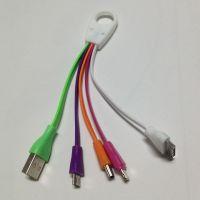 厂家直销 一拖三锁扣充电线 充电数据线 I4/I5/安卓充电发光线