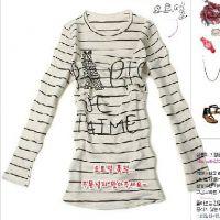 2013秋冬韩版条纹女长袖t恤蕾丝打底衫厂家贴牌来图来样加工定做
