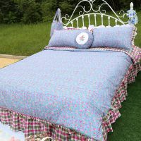 韩式家纺田园碎花纯棉蓝色四件套 公主飞边被套床裙床上用品4件套
