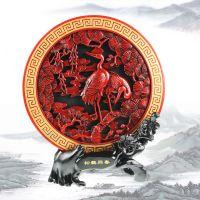 柯巴树脂炭雕工艺品古典精美仿红木家居饰品摆件松鹤连年同春