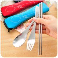 小工具食堂午餐环保不锈钢筷勺叉 户外便携式餐具 三件套