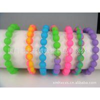 专业生产时尚彩虹色硅胶珠子手环、热销硅胶佛珠手环