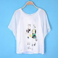 DN021新款欧美卡通小人印花雪纺拼接短袖T恤打底衫蝙蝠T恤女