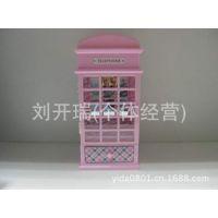 欧式古典新奇特邮政邮箱电话亭音乐盒批发礼品(三色四款)1W6043