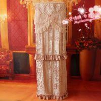 高档水溶花边立柜防尘罩 空调柜机罩 亮丝面料 绒布欧式韩式 粉色