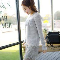 2014秋冬新款中长款蕾丝拼接羊羔毛字母布贴针织衫打底衫毛衣批发