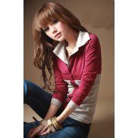 外贸2014韩版新款淑女拼色假两件T恤 休闲打底衫 长袖女式T恤4045