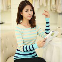 2014秋装新款韩版套头针织衫女 中长款条纹打底衫#917