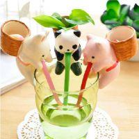 猫小猪兔子渴渴吸里创意桌面小盆栽办公室 陶瓷迷你水培小盆景