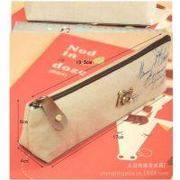 韩国文具 新款小清新棉麻时光笔袋 高档布质 精品笔包 透明盒装