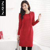 供应娜茵2012冬装新款ol名媛气质修身显瘦长袖红色连衣裙女装XL1640