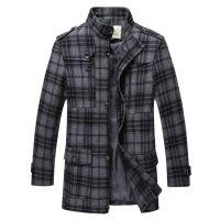 供应羊毛B家 新款男士毛呢大衣 男士大衣 中长款格子男冬装外套 批发