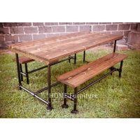 美式法式乡村 LOFT风格全实木铁艺大长餐桌+长凳铁艺做旧桌椅整套