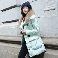 大码女装2014冬季新款韩版抽绳收腰中长款貉子毛领羽绒服 加厚
