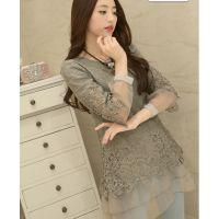 实拍上衣女长袖打底衫 韩版中长款修身拼接蕾丝衫打底衫 配项链