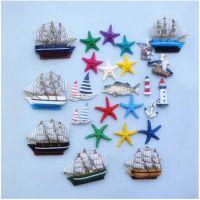 地中海田园海洋系列帆船灯塔磁性冰箱贴创意小家居装饰贴拍摄道具