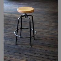 美式乡村复古吧椅酒吧咖啡厅椅子可旋转升降酒吧吧椅铁艺实木坐垫
