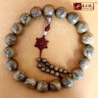 474【 角木蛟】厂家批发美洲绿檀2.5cm精品念珠 雕刻出入平安佛珠