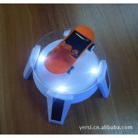 带灯 四脚飞船太阳能旋转台/展台/首饰品展示台电池二用 UFO