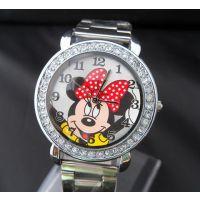 时尚迪士尼Disney米奇钢带水钻 学生手表 时装表带钻男表女表HG01