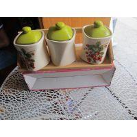 陶瓷调料罐*花园式调料罐*法式乡村套3组合陶瓷调味罐7742