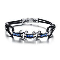 韩版时尚 耀眼蓝色水晶闪钻 潮男款钛钢卡通手链批发 流行饰物930