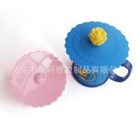 自动吸盘密封杯盖 硅胶环保马克杯盖 卡通多用杯子盖