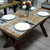 珍岗爆款欧式铁艺酒店餐桌 复古做旧餐厅桌子 家用长方形实木饭桌