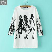 2014秋季新款 外贸女装同款人物印花 休闲运动衫 打底衫T恤5296