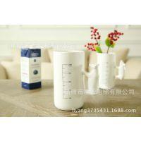 特供!厨房餐具用品白色陶瓷动物造型带刻度冷水/饮料/冷饮杯