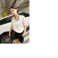 供应正版现货 2014春装新款雪纺打底衫 韩版百搭女式短袖T恤 黑白2色