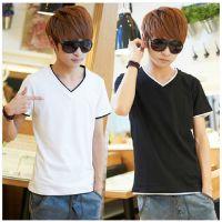 2014新款夏装 男式T恤 短袖 V领半袖纯色韩版男装t恤打底衫