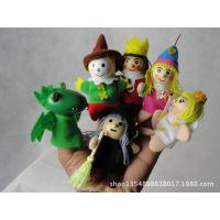 外贸出口货手指偶 木头娃娃 早教道具 角色扮演 青蛙王子公主布袋